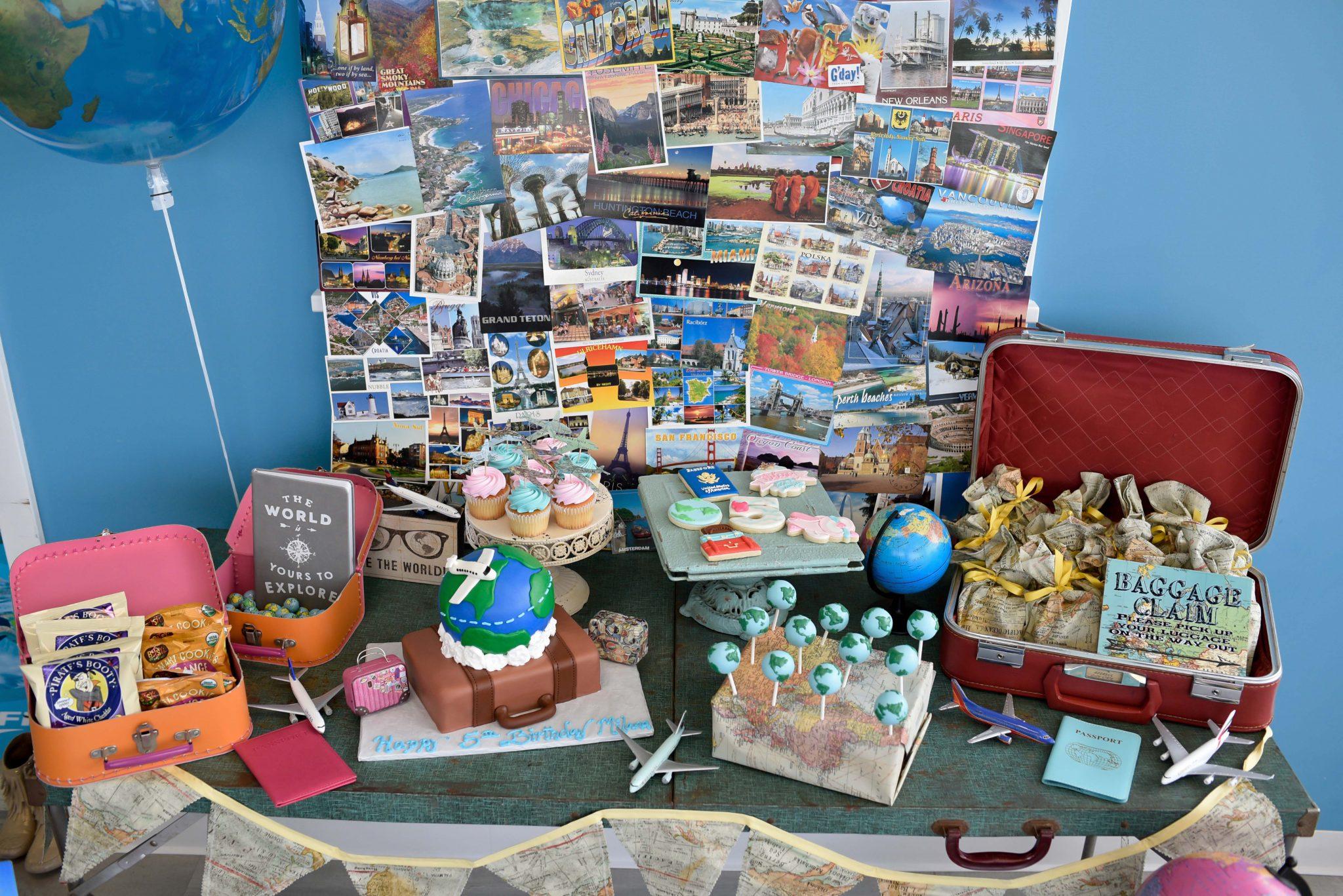 travel themed dessert table