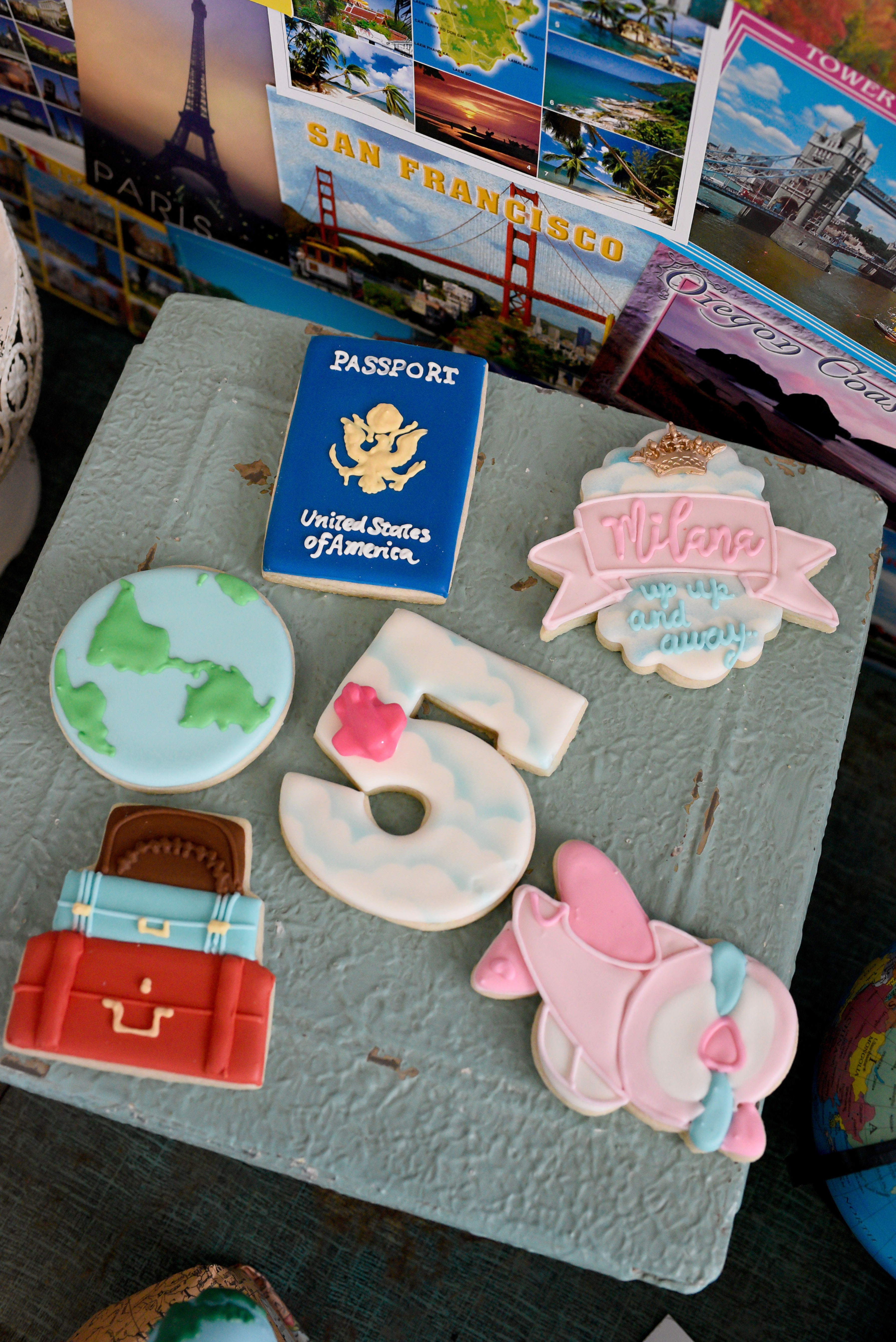 travel themed cookies