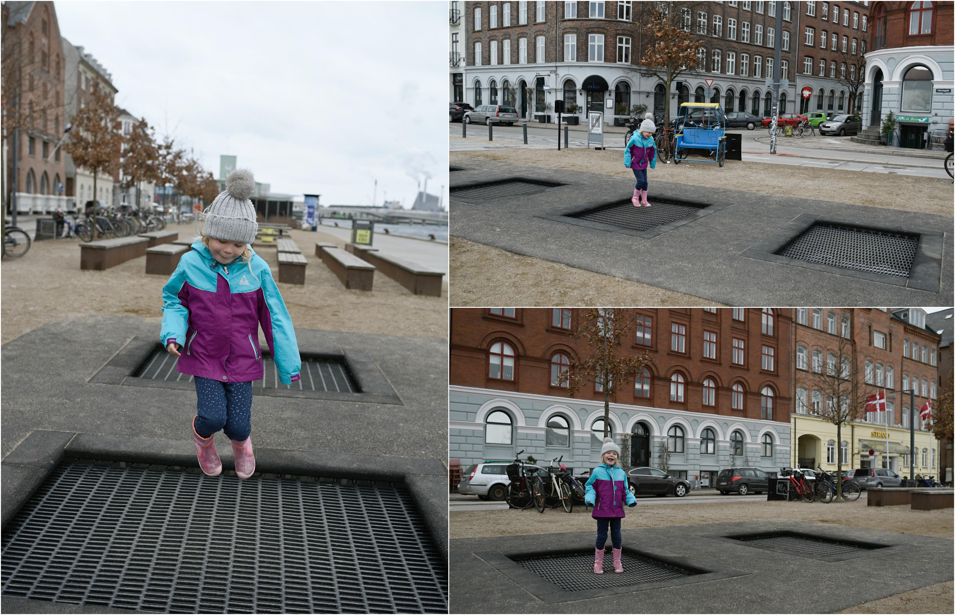 sidewalk trampolines in copenhagen