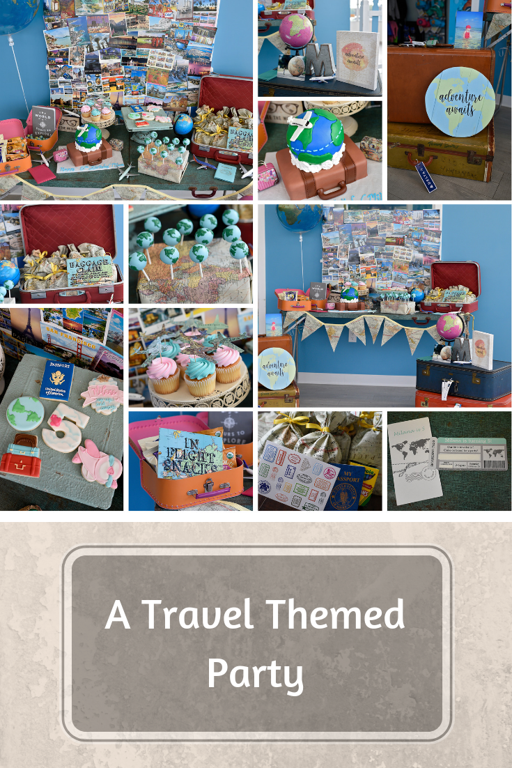Travel themed party wedding
