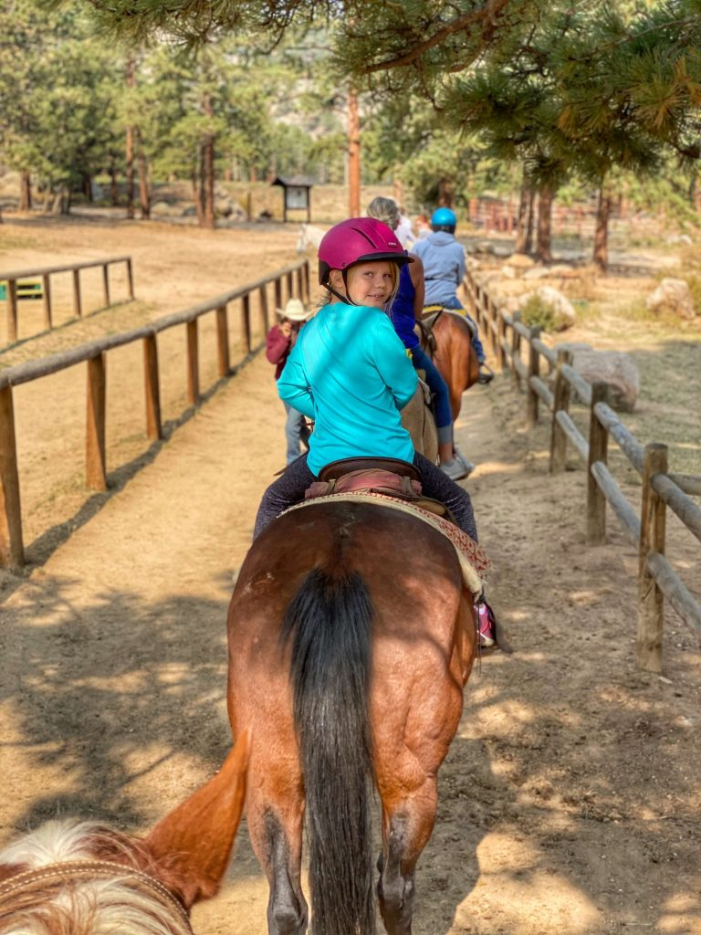 Estes Park horseback riding with kids